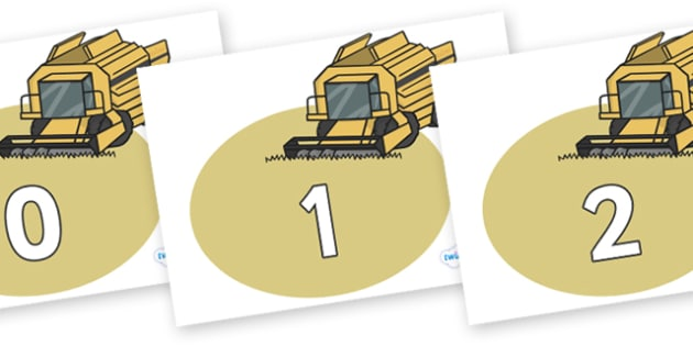 Numbers 0-100 on Combine Harvesters - 0-100, foundation stage numeracy, Number recognition, Number flashcards, counting, number frieze, Display numbers, number posters