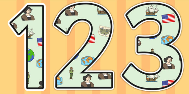 Christopher Columbus Themed Display Numbers - christopher columbus, display numbers, themed number, classroom number, numbers display, numbers for display