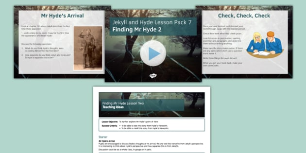Jekyll and Hyde Lesson Pack 7: Finding Mr Hyde 2 (post reading) - Jekyll and Hyde, finding, jeckyl, hyde, lesson, two