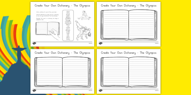 The Olympics Create Your Own Dictionary - usa, america, Vocabulary Development, definitions, read for information, keywords, creating texts