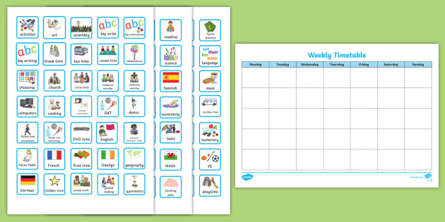 Weekly Planner With Cards Visual Timetable  Visual Aid Early