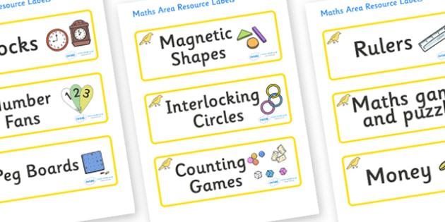 Canary Themed Editable Maths Area Resource Labels - Themed maths resource labels, maths area resources, Label template, Resource Label, Name Labels, Editable Labels, Drawer Labels, KS1 Labels, Foundation Labels, Foundation Stage Labels, Teaching Labe