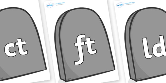 Final Letter Blends on Gravestones - Final Letters, final letter, letter blend, letter blends, consonant, consonants, digraph, trigraph, literacy, alphabet, letters, foundation stage literacy