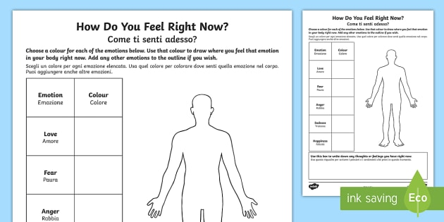 Mindful Me How Do You Feel Right Now Worksheet / Activity Sheet