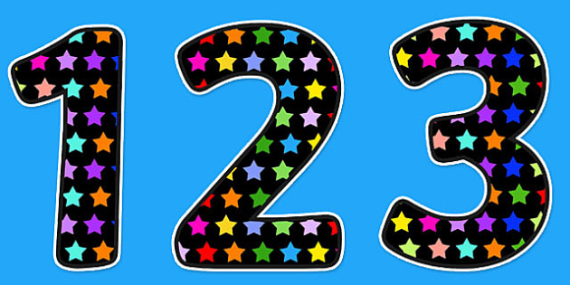 Multicoloured Star Themed A4 Display Numbers - star, numbers