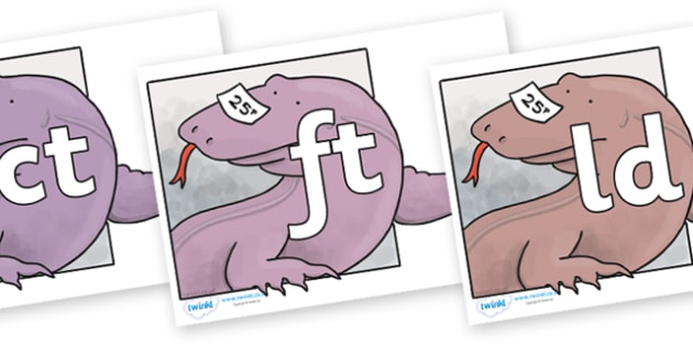Final Letter Blends on Komodo Dragon to Support Teaching on The Great Pet Sale - Final Letters, final letter, letter blend, letter blends, consonant, consonants, digraph, trigraph, literacy, alphabet, letters, foundation stage literacy