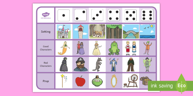 Fairytale Storytelling Prompt Dice Game - fairytale, story, game