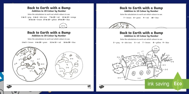 Back To Earth With A Bump Addition Colour By Number