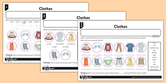 French Clothes 1 Worksheet / Activity Sheet - french, clothes, activity, worksheet