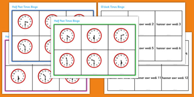 Half Past Times Bingo Welsh - welsh, half past, times, bingo