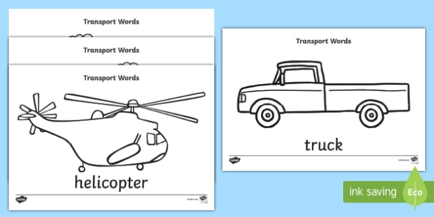 Transport Words Colouring Sheet A4
