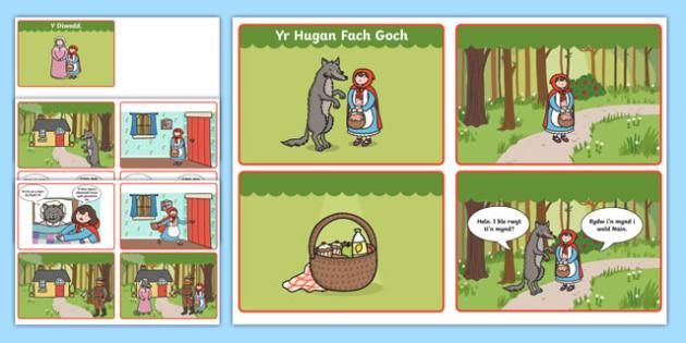 Trefnu Stori Yr Hugan Fach Goch (4 ar bob dudalen A4 gyda Swigod siarad) Cardiau Trefnu Stori-Welsh