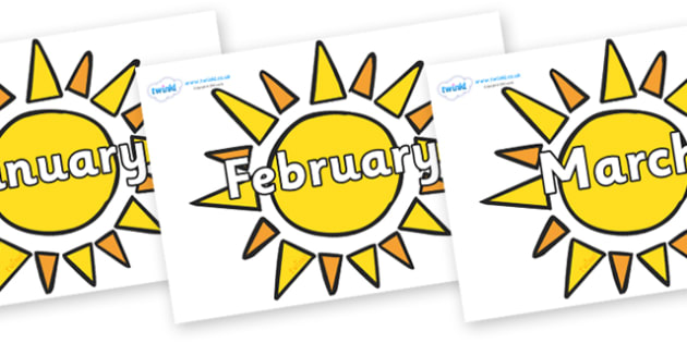 Months of the Year on Sun - Months of the Year, Months poster, Months display, display, poster, frieze, Months, month, January, February, March, April, May, June, July, August, September