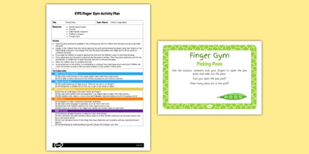 EYFS Picking Peas Finger Gym Plan and Resource Pack - EYFS, Early Years, fine motor skills, Physical Development, vegetables
