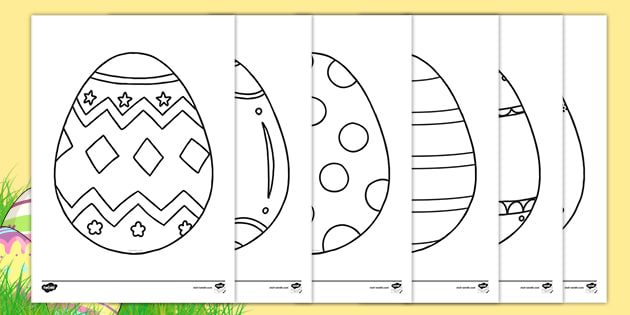Easter Egg Templates Ks1 Colouring Sheets Teacher Made