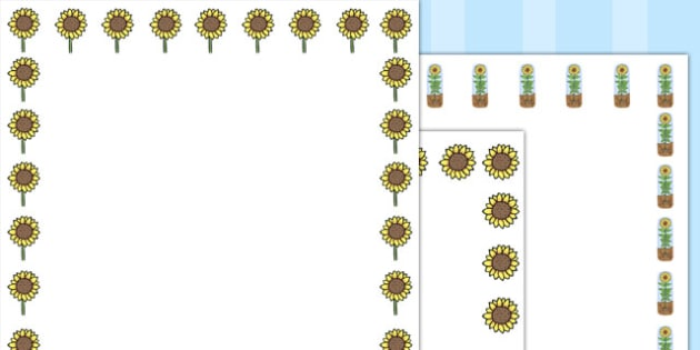 Sunflower Page Borders - Australia, Sunflower, Sun, Flower, Page