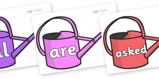 Tricky Words on Watering Cans - Tricky words, DfES Letters and Sounds, Letters and sounds, display, words