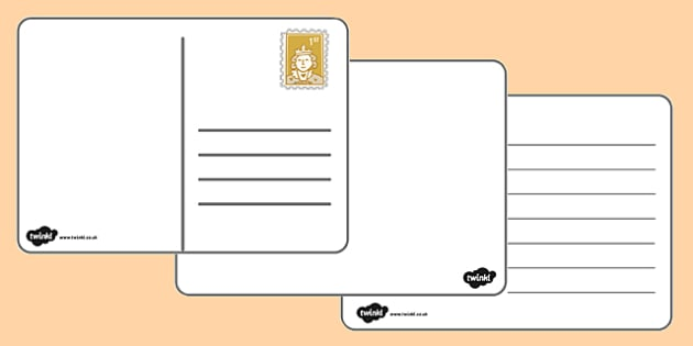 Postcard Templates  Postcard Writing Template