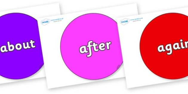 KS1 Keywords on Circles - KS1, CLL, Communication language and literacy, Display, Key words, high frequency words, foundation stage literacy, DfES Letters and Sounds, Letters and Sounds, spelling