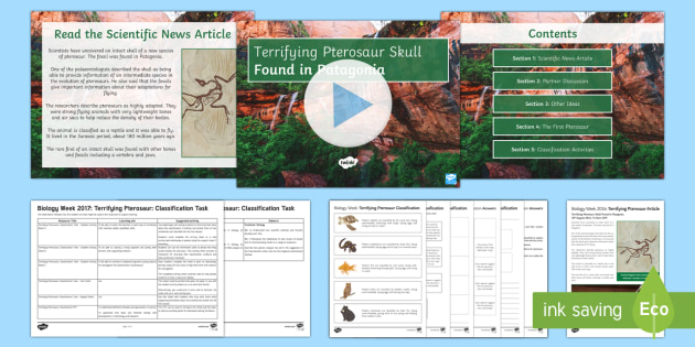 Biology Week Activity Pack - Biology Week, pterosaur, palaeontology, palaeontologist, Patagonia, fossils, classification, species