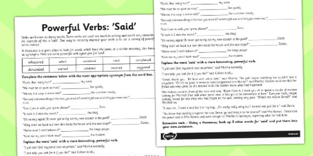 Powerful Verb Worksheet Said Powerful Verb Worksheet Said