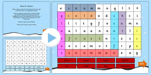 Winter Interactive Wordsearch PowerPoint - winter, winter wordsearch, interactive wordsearch, wordsearch, powerpoint, interactive powerpoint, winter games