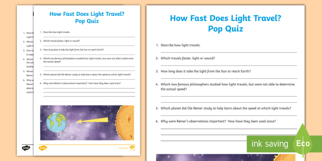 The Speed of Light Pop Quiz - Light, energy, scientists, forces
