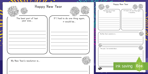 New Year\'s Resolution Writing Frame - New Years, resoultions