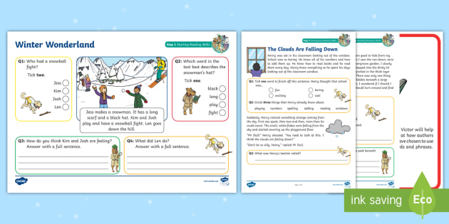 ks1 winter wonderland focused reading skills comprehension pack year 1. Black Bedroom Furniture Sets. Home Design Ideas