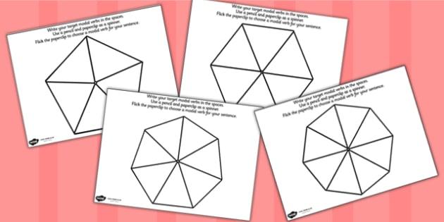 Modal Verb Spinner - verbs, grammar, visual aid, literacy, spin