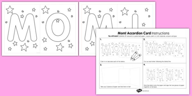 Mom Accordion Card Template - usa, america, mum, accordion, card, template
