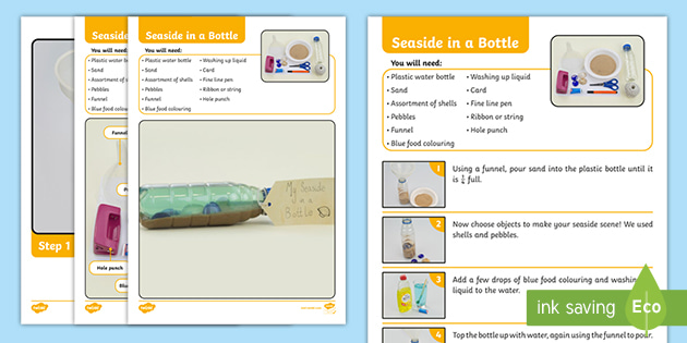Seaside in a Bottle Craft Instructions (teacher made)