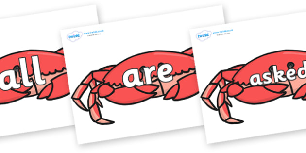 Tricky Words on Crabs - Tricky words, DfES Letters and Sounds, Letters and sounds, display, words