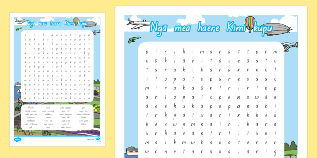Ngā mea haere Differentiated Word Search