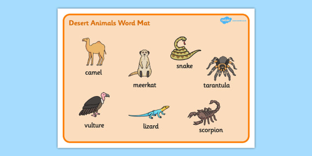 Desert Animals Word Mat - desert, animals, word, mat, word mat
