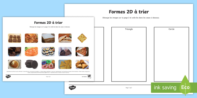 Formes en 2D Food Sorting - french, food, 2d shape, sorting, activity, francais