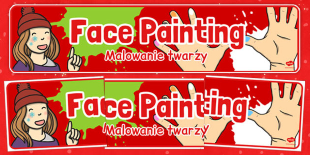 Face Painting Banner Polish Translation - polish, face painting, banner, display, christmas fair, christmas, fayre