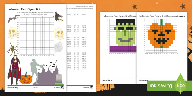 Halloween Four Figure Grid Reference Worksheet Activity Sheet Geography Ks3 Four