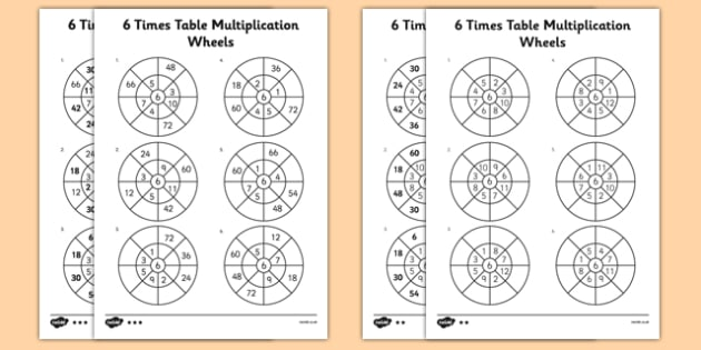 6 times table multiplication wheels worksheet activity sheet 6 times table multiplication wheels worksheet activity sheet pack 6 times table multiplication ibookread Download