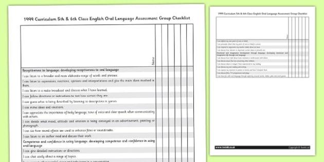 1999 Curriculum 5th and 6th Class English Oral Language Assessment Group Checklist - english, oral, roi, ireland, irish, eire