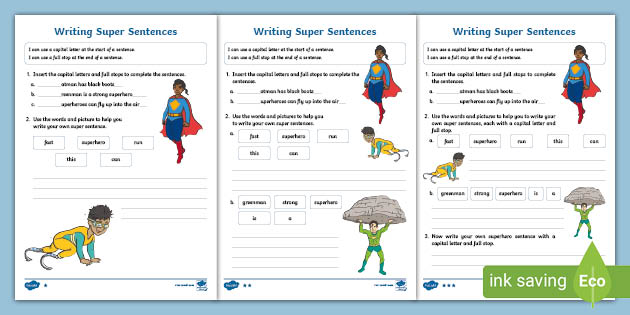 Writing Super Sentences Differentiated Worksheet