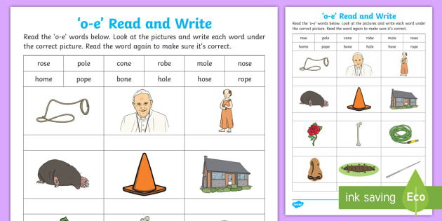 Magic e with 'o-e' Read and Write Worksheet - Split Digraph, Phonics ...