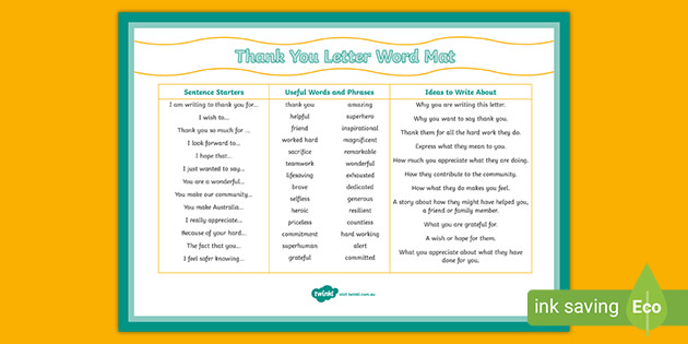 Essential Workers Thank You Letter Writing Word Mat