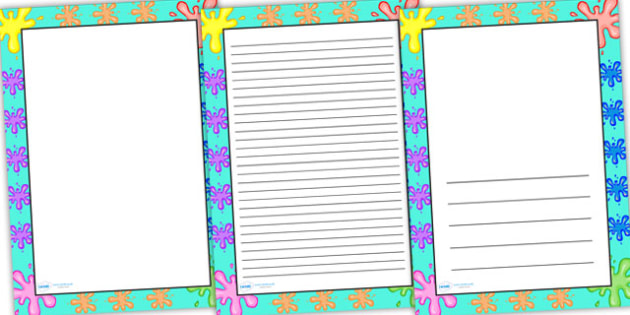 Splat Themed Page Borders - splat, page borders, writing frame