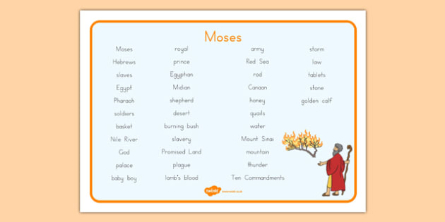 Moses Word Mat - usa, america, Moses, Egypt, Hebrews, slaves, Pharaoh, basket, God, word mat, writing aid, mat, palace, shepherd, burning bush, plague, Promised Land, law, stone, ten commandments, bible, bible story