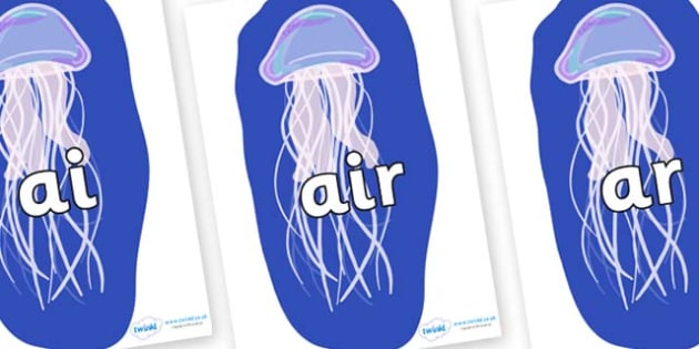 Phase 3 Phonemes on Jellyfish - Phonemes, phoneme, Phase 3, Phase three, Foundation, Literacy, Letters and Sounds, DfES, display