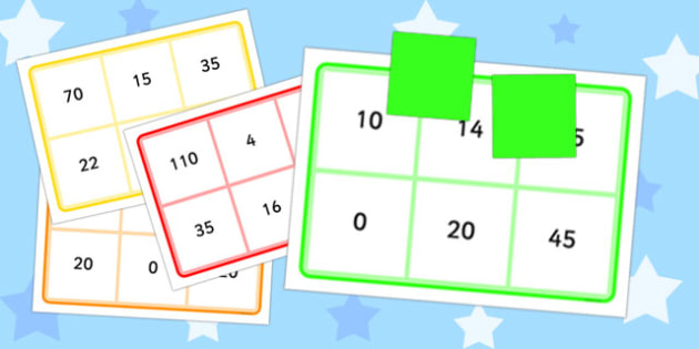 Multiplication By 2, 5 and 10 Bingo - multiplication, 2, 5, 10, bingo