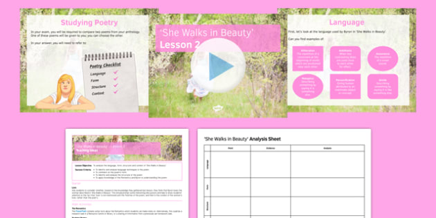 She Walks in Beauty Lesson Pack 2: Context and Analysis - She Walks in Beauty, Lord Byron, Romantics, poetry, language, context, form, structure