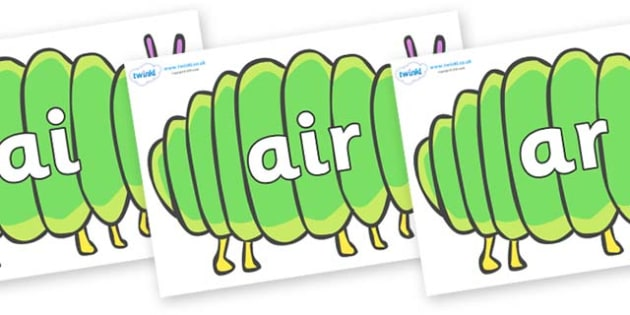 Phase 3 Phonemes on Fat Caterpillars to Support Teaching on The Very Hungry Caterpillar - Phonemes, phoneme, Phase 3, Phase three, Foundation, Literacy, Letters and Sounds, DfES, display