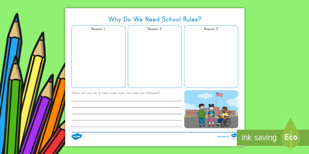 Why Do We Need School Rules Worksheet Activity Sheet